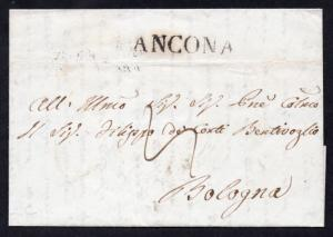 ITALY Stampless 1844 Cover ANCONA to BOLOGNA with Contents