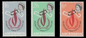 ASCENSION ISLAND 1968. SCOTT # 115 - 117. UNUSED SET.