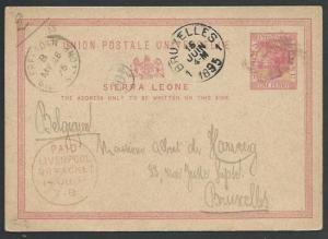 SIERRA LEONE 1895 1d postcard uesd to Belgium, Liverpool Br Packet cds.....57011