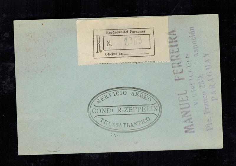 1932 Paraguay LZ 127 Graf Zeppelin Postcard Cover to Herman Sieger Lorch Germany