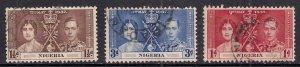 Nigeria 1937 KGV1 Set Coronation Used SG 46 - 48 ( J1374 )