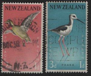 NEW ZEALAND, B57-B58, (2) SET, USED, 1959, Grey Teal (Tete), Pied Stilt