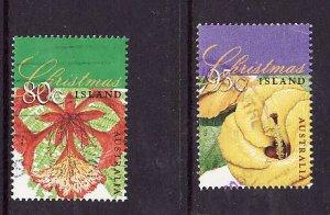 Christmas Is.-Sc#414-5-used Tree Flowers of Christmas-1998-