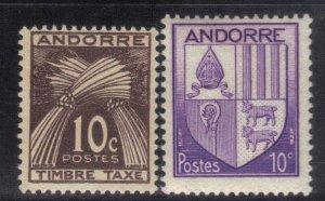 ANDORRA  SCOTT# J21+78 1943-46  SPANISH ADMIN.  MH