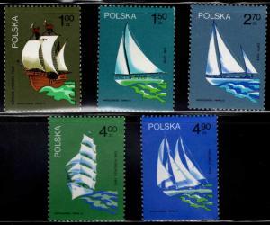 Poland Scott 2038-2042 MNH** 1974 Sailboat set