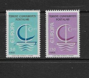 TURKEY - EUROPA 1966 - SCOTT 1718 TO 1719 - MNH
