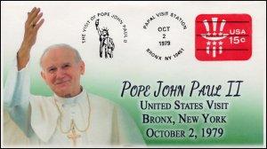 AO-U581, 1979, Pope John Paul II, Visit to US, Add-on Cover (2018), Bronx NY,