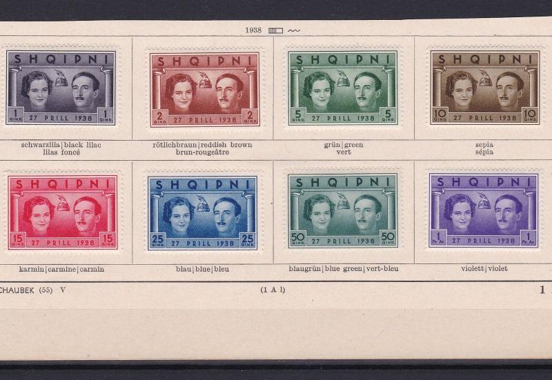 albania  1938 mounted mint stamps ref r13346