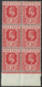 GOLD COAST 1907 KEVII 1D MNH ** BLOCK