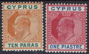 CYPRUS 1904 KEVII 10PA AND 1PI WMK MULTI CROWN CA