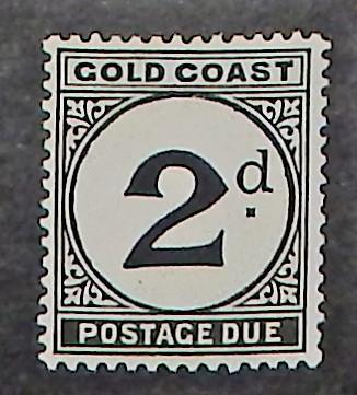 Gold Coast J5. 1951 2p  Black postage due