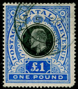SOUTH AFRICA - Natal SG142, £1 black & brt blue, USED. Cat £80.