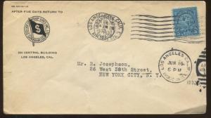 1932 Los Angeles California Dollar Steamship Lines INC LTD Air Mail Cover