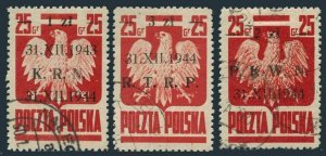 Poland 345A-345C, used. Mi . Polish government agencies. Polish Eagle, 1944