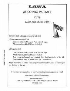 2019 US COMBINED SUPPLEMENT – LAWA Album Pages