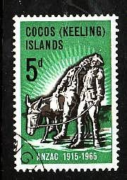 Cocos (Keeling) Is.-Sc#7-used set-Paintings-Simpson and his donkey-1965-