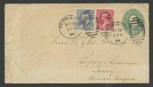 #219, #220 ON 2c 1894 ENTIRE PEORIA, ILL. TO GERMANY TRANSATLANTIC FLIGHT BM7379