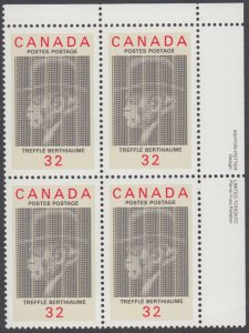 Canada - #1044 Treffle Berthiaume Plate Block - MNH