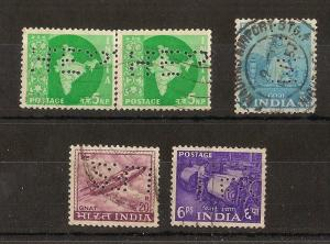 India Selection of Perfins (5v)