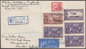 NEW ZEALAND 1940 First flight cover to London with cinderella..............57670