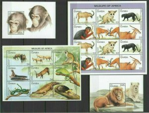 U1014 GAMBIA FAUNA WILD ANIMALS WILDLIFE OF AFRICA 2BL+2KB FIX