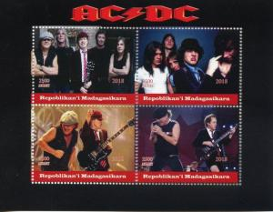 Madagascar 2018 MNH AC/DC ACDC Rock Band 4v M/S Music Guitars Stamps