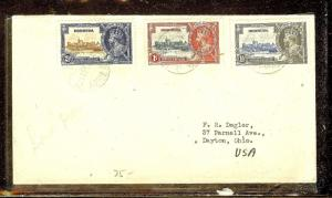 BERMUDA (P2110B)  SILVER JUBILEE   1D+  1 1/2D+2 1/2D COVER TO USA