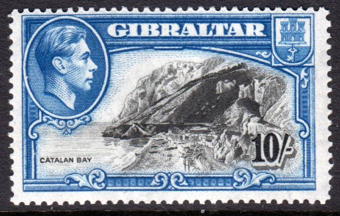 Gibraltar KGVI 1938 10/- 10s Black Blue SG130 Mint Lightly Hinged