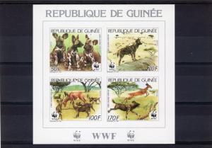Guinea 1987 WWF African Wild Dog Souvenir Sheet Imperforated #058 MNH