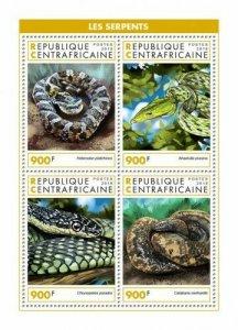 HERRICKSTAMP NEW ISSUES CENTRAL AFRICA Snakes Sheetlet