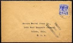 Malaya - Penang 1940 cover to USA bearing Straits 12c blu...