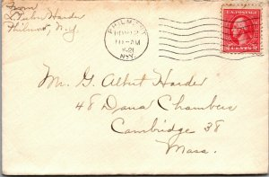 Philmont NY > Cambridge MA 1921 Dana Chambers stamped cover