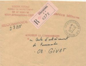 France Military Free Mail 1973 67-Strasbourg R.P, Bas-Rhin Registered to Give...