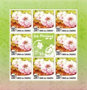 COMORES 2010 SHEET PEONIES LES PIVOINES FLOWERS FLEURS FLORES cm10114a
