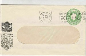 England 1937 A.Sanderson Wallpapers & Paints Slogan Cancel Stamp Cover Ref 31845