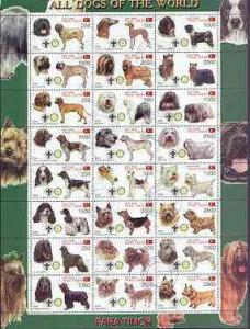 Timor (East) 2000 Dogs #01 perf sheetlet containing 24 va...
