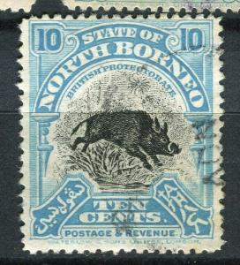 NORTH BORNEO; 1925 early Pictorial issue fine used 10c. value + Postal cancel