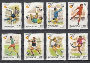 Rwanda, Scott cat. 1095-1102. `82 World Cup Soccer issue.