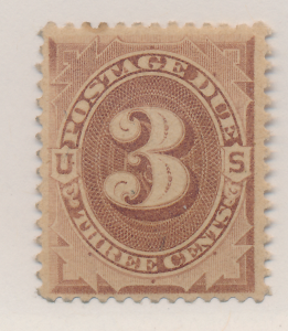 United States Stamp Scott #J3, Mint Hinged, Original Gum, Creased, Toned - Fr...