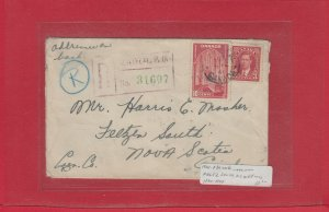 1941 Registered cover to Nova Scotia from Montreal several backstamps Canada