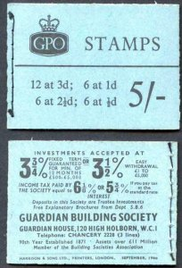 H46p 5/- Booklet 2 1/2d 2 Band Upright MISS PLACED Bands