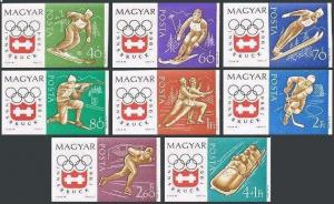 Hungary 1548-1554,B234,1555 imperf,MNH. Olympics Innsbruck-1964.Slalom,Skiing,