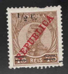 Angola  Scott 219 MH* overprinted stamps short perf at top