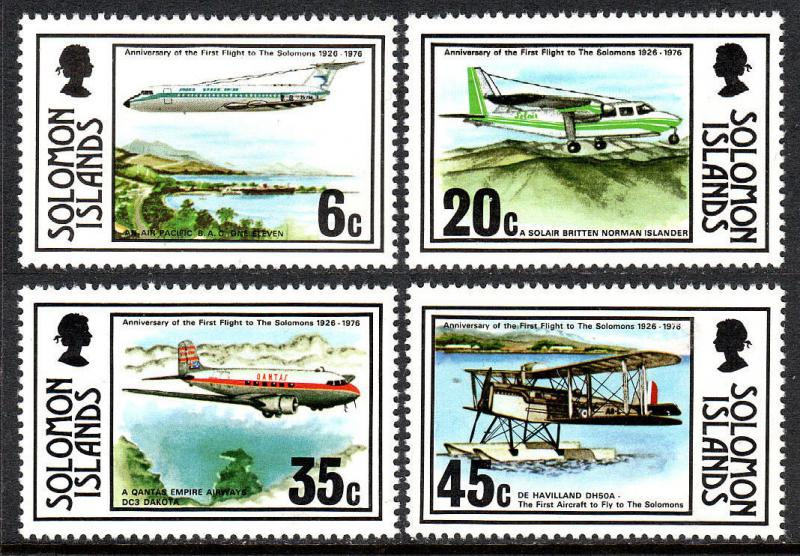 Solomon Islands 341-344,MNH.1st flight to Solomon Islands,50th anniv.Planes,1976