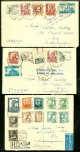 EDW1949SELL : SPAIN 3 1937-38 covers to England with 2 Military Censored & 1 Reg