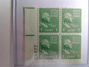 SCOTT # 804 WASHINGTON PLATE BLOCK GEMS 1938