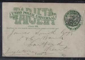 URUGUAY (P0105B)  1885 5C PSC TO ENGLAND