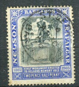 BARBADOS; 1906 early Nelson Centenary issue fine used 2.5d. value