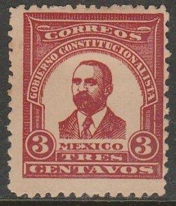 MEXICO 3¢ 1914 MADERO ESSAY, NEVER ISSUED. UNUSED, H ORIGINAL GUM. VF..(1035)