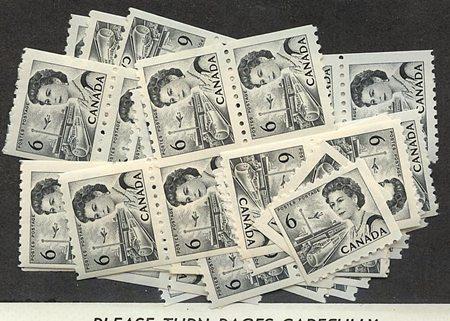Canada - 6c Black Centennial Coil X 85 mint #468B. Stamp Shows Trains!
